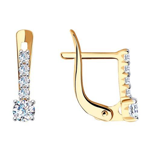 Серьги из золота с фианитами (027500-4) - фото