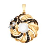 Подвеска из золота с жемчугом и бесцветными и чёрными фианитами