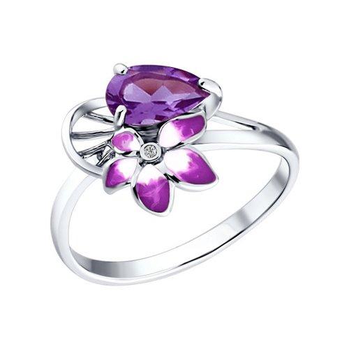 Кольцо из серебра с эмалью c фианитом и аметистом «Фрезия»