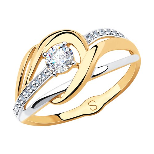 Кольцо из золота с фианитами (018236) - фото