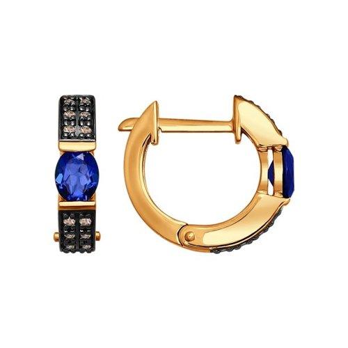 Серьги из золота с коньячными бриллиантами и сапфирами