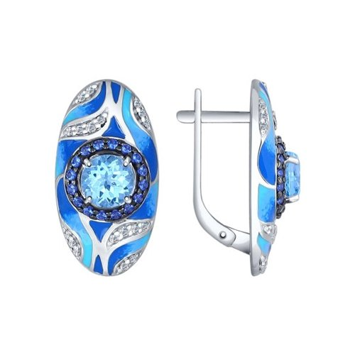 Серьги из серебра с эмалью с миксом камней