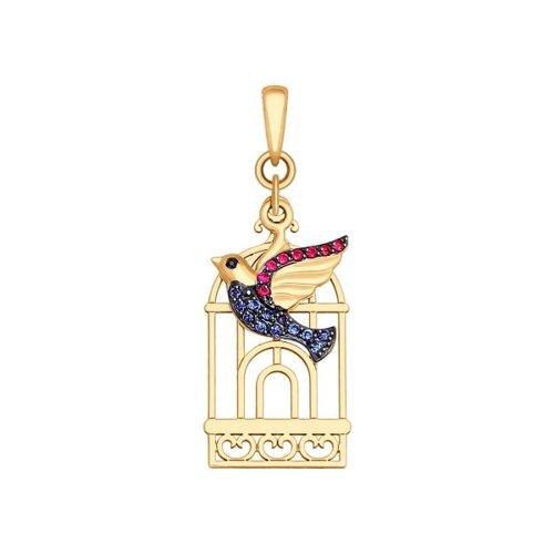Подвеска из золота «Птица» с чёрными, синими и красными фианитами
