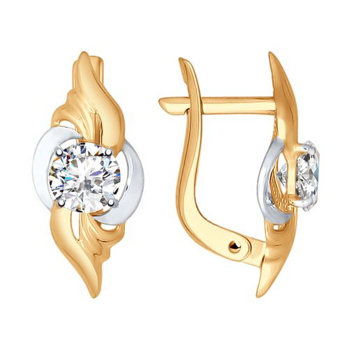 Серьги из золота с фианитами (027370-4) - фото