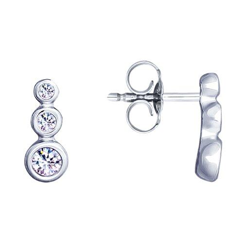 Серьги из серебра с фианитами (94023158) - фото