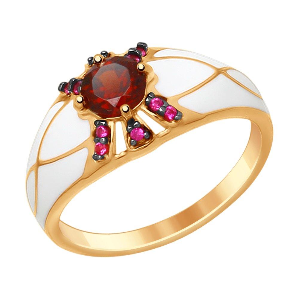 Фото - Кольцо SOKOLOV из золочёного серебра с эмалью с гранатом и красными фианитами трехрядное чёрное кольцо из золочёного серебра с эмалью