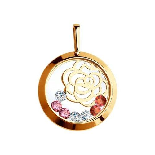 Подвеска из золота с минеральным стеклом и бесцветными, красными и  розовыми фианитами