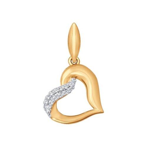 Подвеска в форме сердца из золота с фианитами
