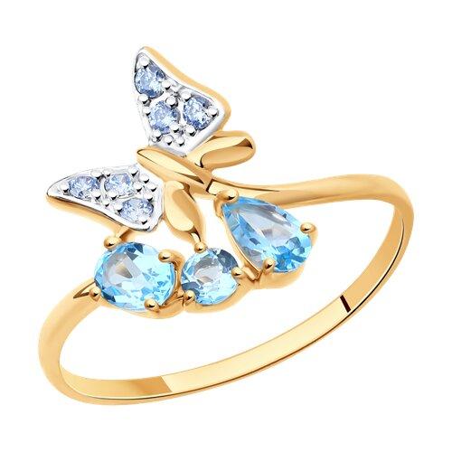 Кольцо «Бабочка» из золота с голубыми топазами и голубыми фианитами (714574) - фото