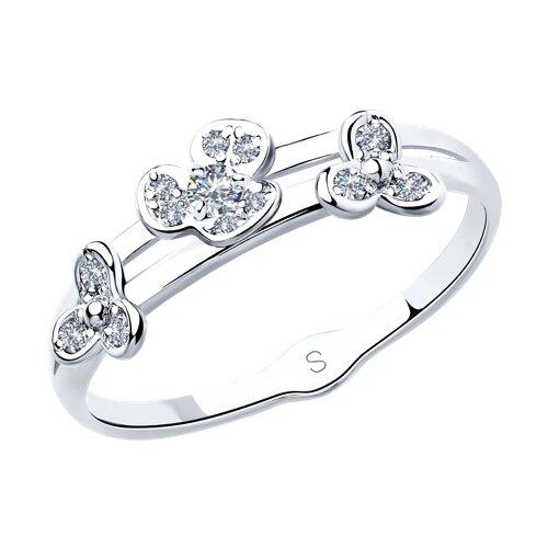 Кольцо из серебра с фианитами (94012934) - фото