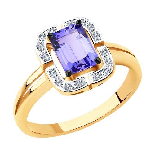 Кольцо из золота с бриллиантами и танзанитом (6014120) - фото