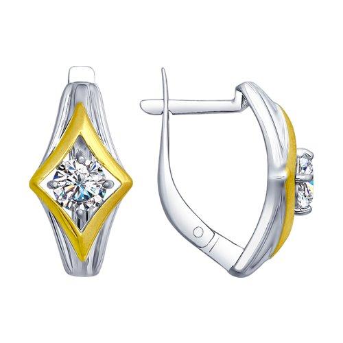 Серьги из серебра с фианитами (94022581) - фото