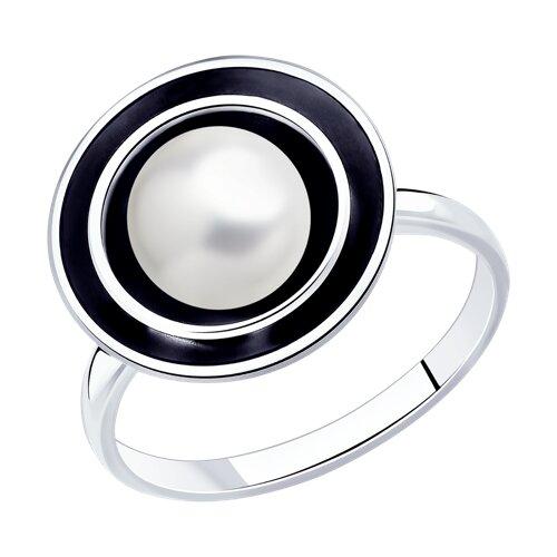 Кольцо из чернёного серебра с жемчугом (95010123) - фото