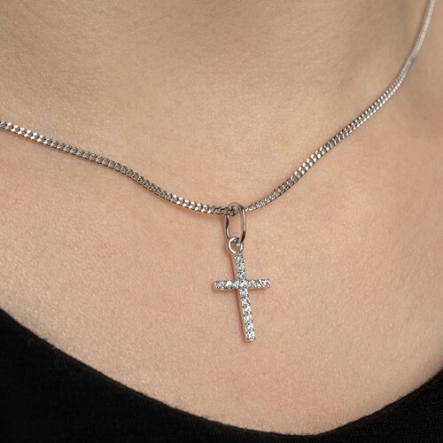 Крестик из белого золота с фианитами 120310 SOKOLOV фото 5