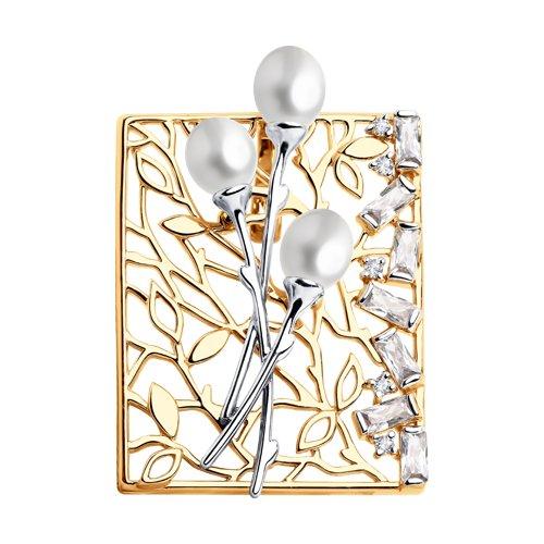Подвеска из золота с жемчугом и фианитами