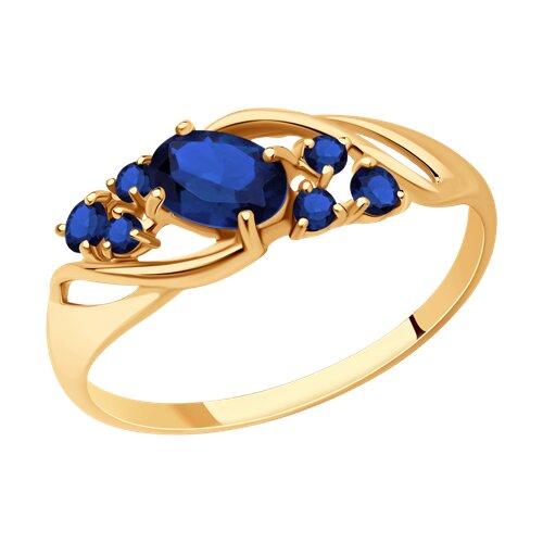 Кольцо из золота с синими корунд (синт.) (715280) - фото