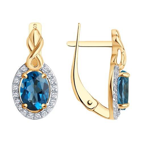 Серьги из золота с синими топазами и фианитами (725359) - фото