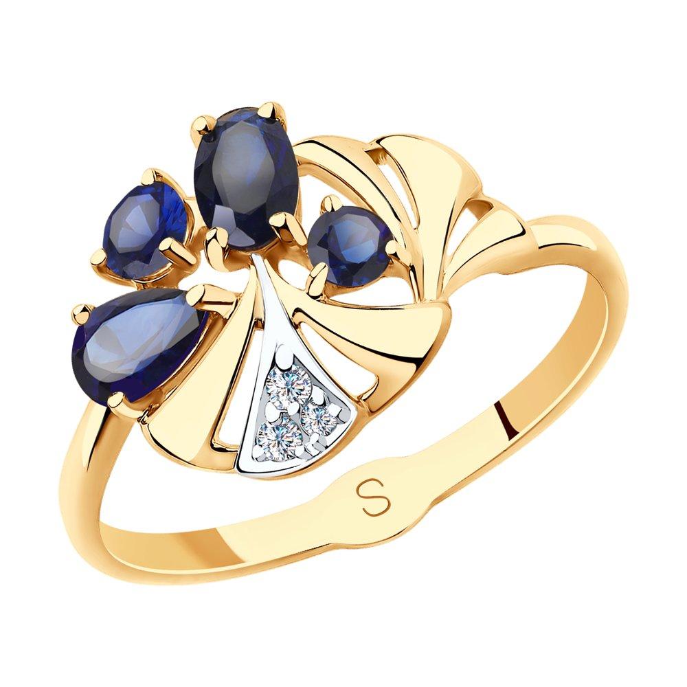 Фото - Кольцо SOKOLOV из золота с синими корунд (синт.) и фианитами кольцо sokolov из желтого золота с синими корунд синт синим опалом и зелеными и синими фианитами