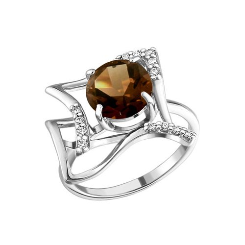 Кольцо SOKOLOV из серебра с раухтопазом и фианитами кольцо sokolov из серебра с раухтопазом и фианитами