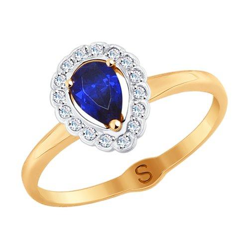 Кольцо из золота с фианитами (017809) - фото
