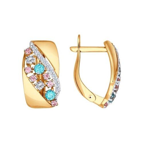 Серьги из золота с зелеными, розовыми и бесцветными фианитами