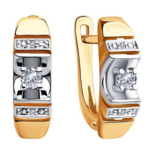 Серьги из комбинированного золота с бриллиантами 1021357 SOKOLOV фото 3