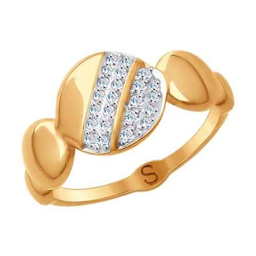 Кольцо из золота с фианитами (017683) - фото