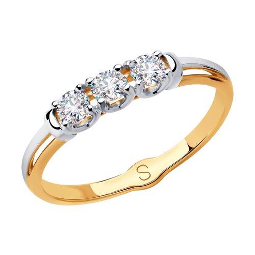 Кольцо из золота с фианитами (018091) - фото