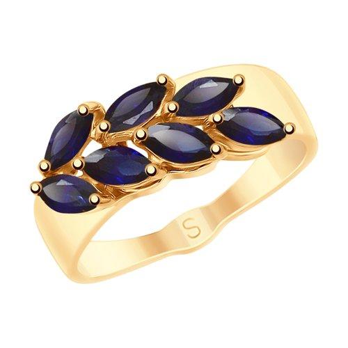 Золотое кольцо с синими корундами (синт.) (715224) - фото