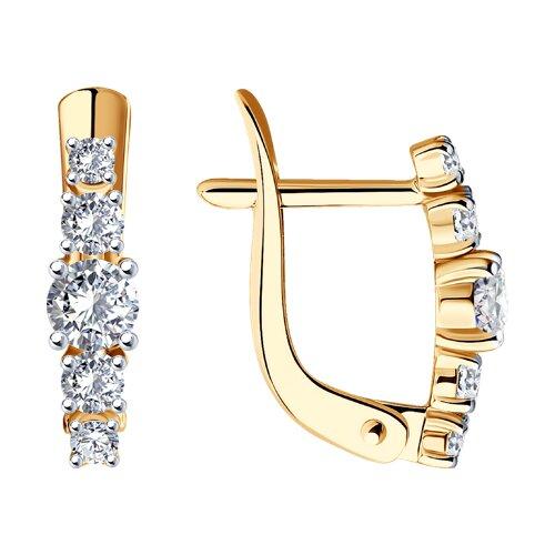 Серьги из золота с фианитами (027452-4) - фото