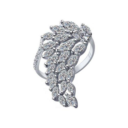 Кольцо из серебра с фианитами (94011942) - фото