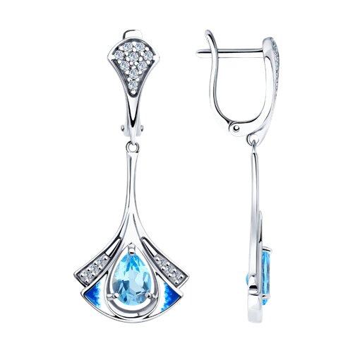 Серьги из серебра с эмалью и топазами и фианитами (92022008) - фото