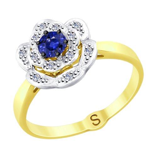 Кольцо из желтого золота с бриллиантами и сапфиром (2011082-2) - фото