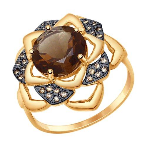 Кольцо из золота с раухтопазом и жёлтыми фианитами (714748) - фото