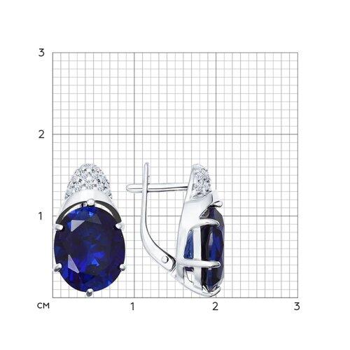 Серьги из серебра с корундами сапфировыми (синт.) и фианитами