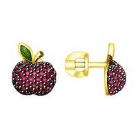 Серьги «Яблочки» с фианитами и эмалью