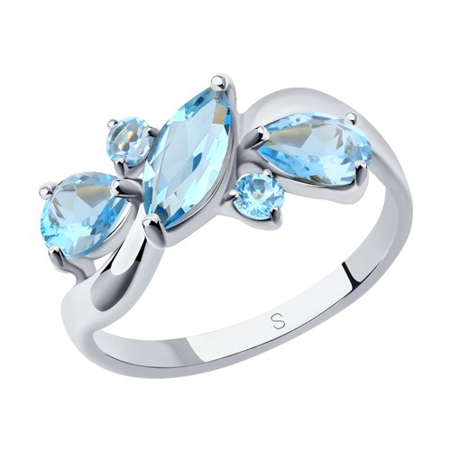 Кольцо из серебра с топазами (92011656) - фото