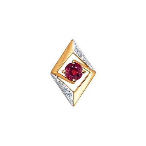 Подвеска из золота с бриллиантами и рубином (4030110) - фото
