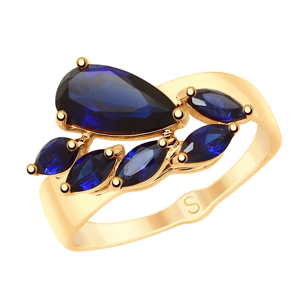 Кольцо SOKOLOV из золота с синими корунд (синт.)