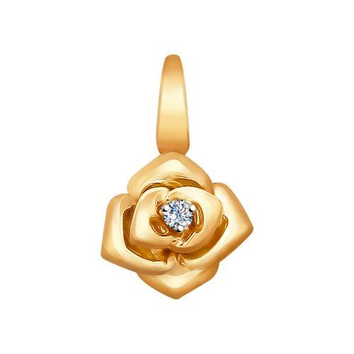 Золотая подвеска в виде розы с бриллиантом