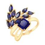 Кольцо из золота с синими корундами (синт.)