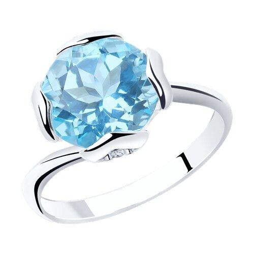 Кольцо из серебра с топазом и фианитами (92011793) - фото