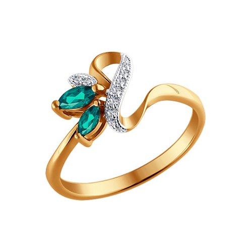 Кольцо из золота с бриллиантами и изумрудами (3010384) - фото