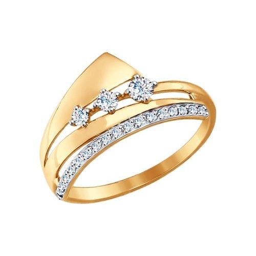 Кольцо из золота с фианитами (017314) - фото