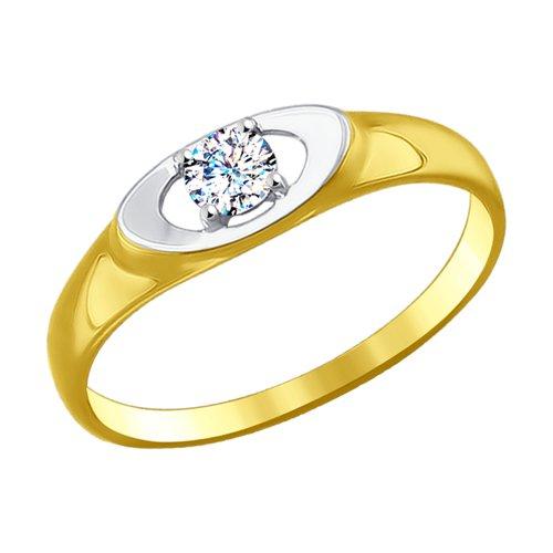Кольцо из желтого золота с фианитом (017133-2) - фото