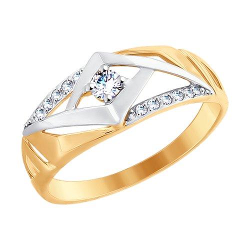 Кольцо из золота с фианитами (017658-4) - фото