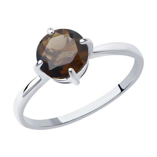 Кольцо из серебра с раухтопазом (92011792) - фото