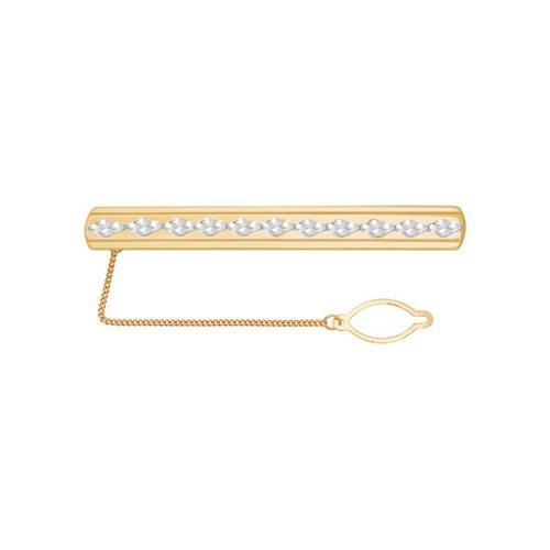 Золотой зажим для галстука с проходящей вдоль алмазной гранью (090016) - фото