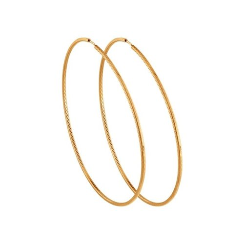 Серьги конго из золота с алмазной гранью (140136) - фото