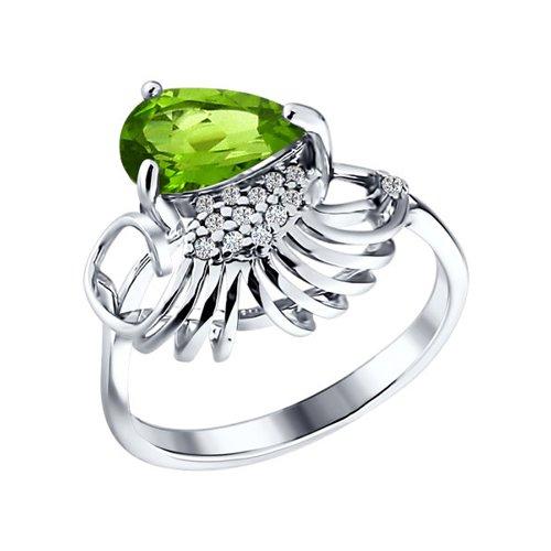Фото - Серебряное кольцо с зелёным камнем SOKOLOV серебряное кольцо с сердечками sokolov